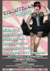 Cue Tease Burlesque poster: Charitease May 2015