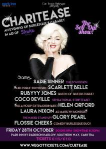 Cue Tease Burlesque poster: Charitease October 2016