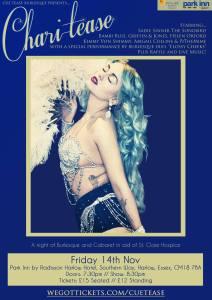 Cue Tease Burlesque poster: Charitease November 2014