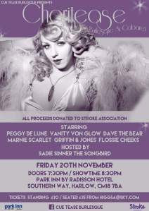 Cue Tease Burlesque poster: Charitease November 2015